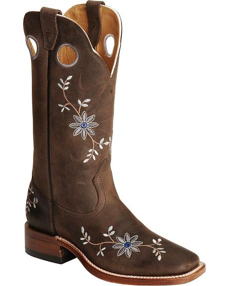 Boulet Grey Moss Floral Embroidered Cowgirl Boots - Square Toe