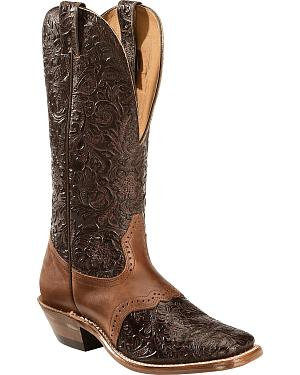 Boulet Hand Tooled Leather Cowgirl Boots - Square Toe