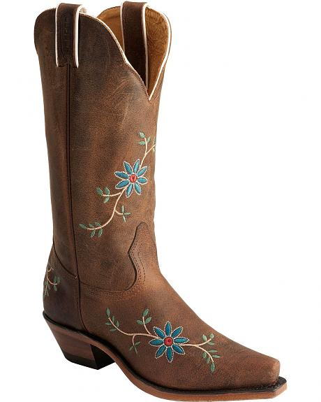 Boulet Floral Embroidered Cowgirl Boots - Snip Toe
