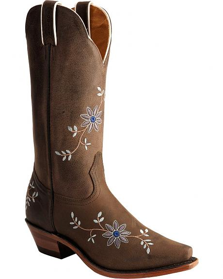 Boulet Grey Moss Floral Embroidered Cowgirl Boots - Snip Toe