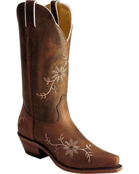 Boulet Tan Floral Embroidered Cowgirl Boots - Snip Toe