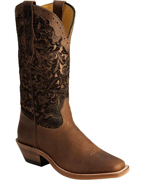 Boulet Bronze Hand Tooled Cowgirl Boots - Square Toe