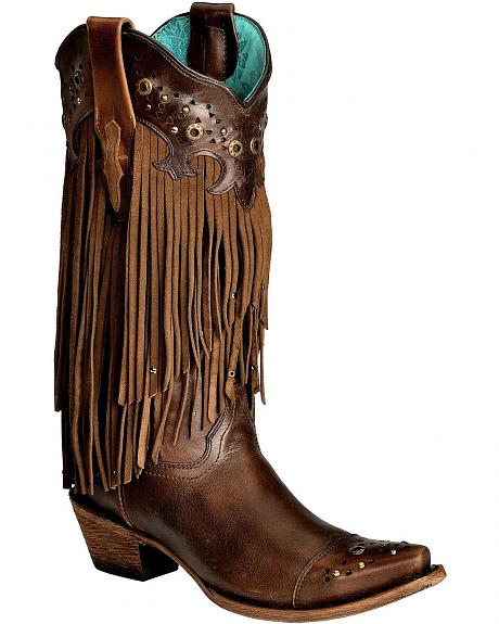 Corral Sierra Fringe & Studded Cowgirl Boots - Snip Toe