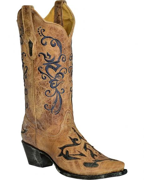 Corral Antique Filigree Inlay Cowgirl Boots - Snip Toe