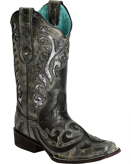 Corral Silver Sequin Inlay Cowgirl Boots - Square Toe