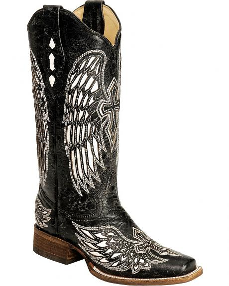 Corral Distressed Black with White Cross & Wing Inlay Cowgirl Boots - Square Toe