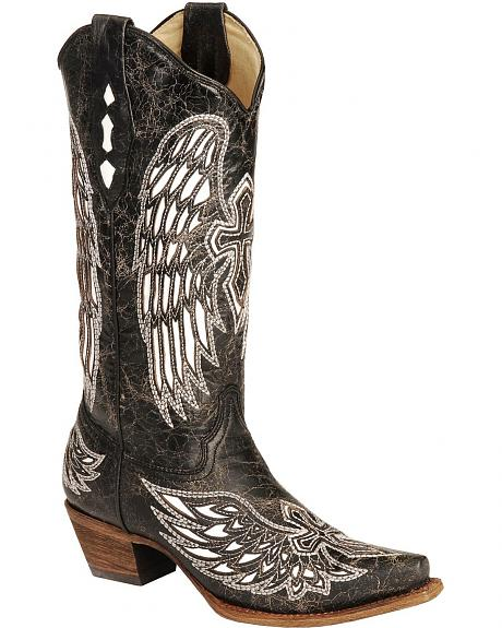 Corral White Wing Inlay & Cross Embroidery Distressed Cowgirl Boots - Snip Toe