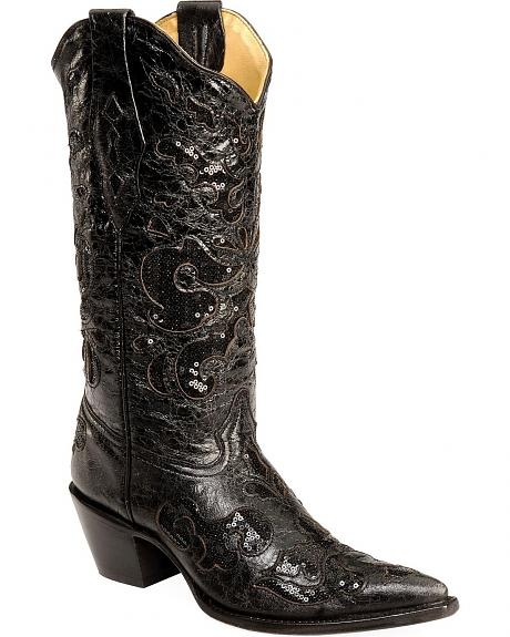 Corral Sequin Inlay Cowgirl Boots - Pointed Toe