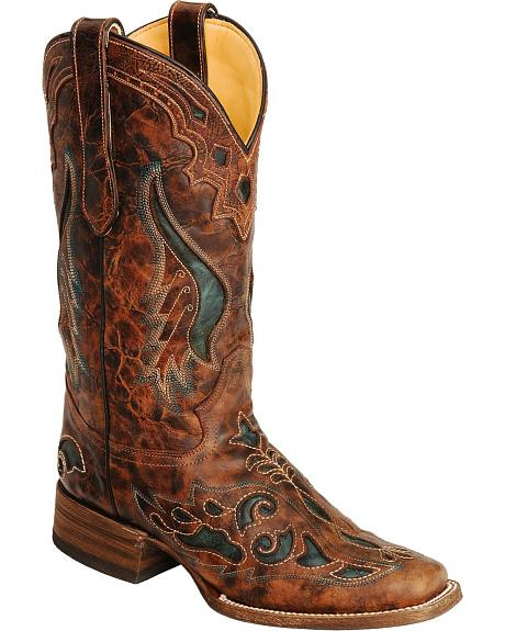 Corral Cognac & Olive Inlay Cowgirl Boots - Square Toe