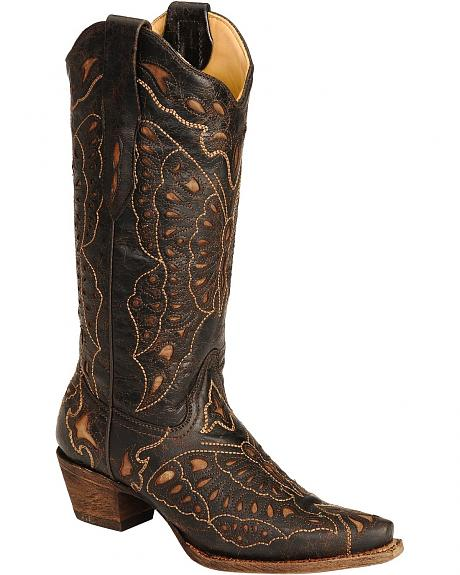 Corral Tan Butterfly Inlay Cowgirl Boots - Snip Toe