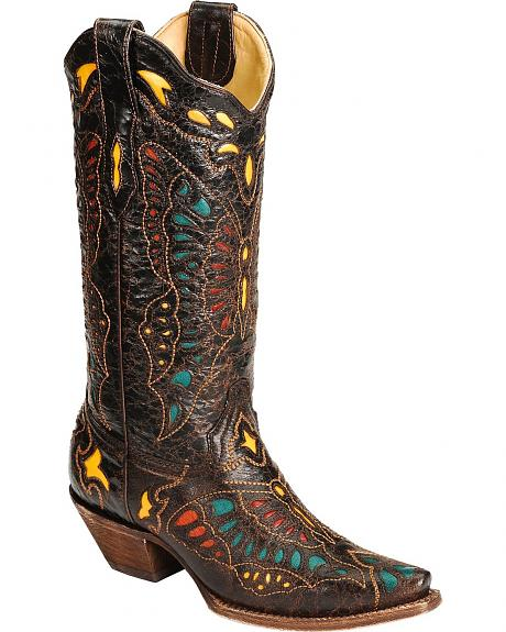 Corral Multi-Color Butterfly Inlay Cowgirl Boots - Snip Toe