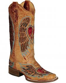 Corral Distressed Heart and Wing Inlay Cowgirl Boots - Square Toe