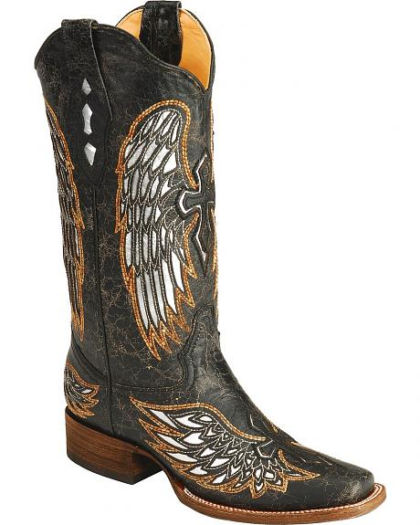 Corral Distressed Gold-Tone Embroidered Cross & Wing Cowgirl Boots - Square Toe