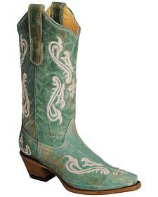 Corral Cortez Fleur-De-Lis Turquoise Cowgirl Boots - Snip Toe