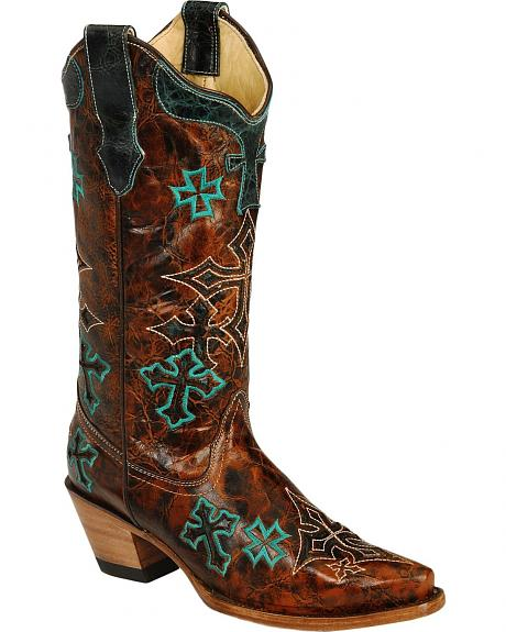 Corral Whiskey Marble Turquoise Cross Embroidered Cowgirl Boots - Snip Toe
