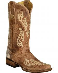 Corral Cortez Distressed Fleur-De-Lis Embroidered Cowgirl Boots - Square Toe