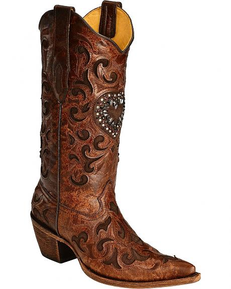 Corral Burnished Goatskin Crystal Heart Cowgirl Boots - Pointed Toe