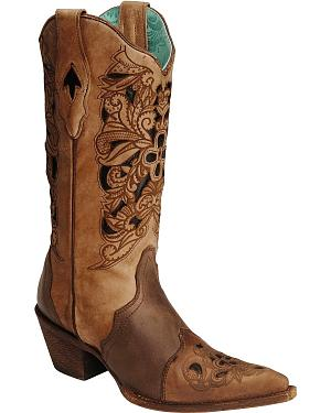 Corral Black & Tan Tooled Inlay Cowgirl Boots - Pointed Toe