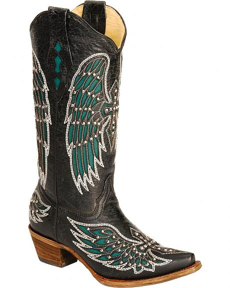 Corral Turquoise Wing Inlay & Cross Embroidery Cowgirl Boots - Snip Toe