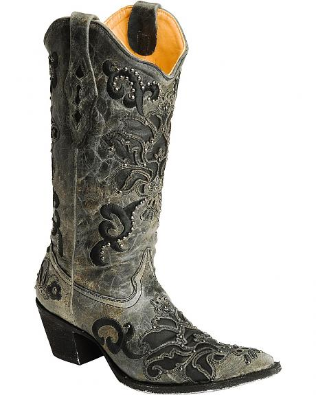 Corral Black Crater Studded Cowgirl Boots - Pointed Toe