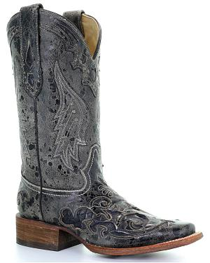 Corral Vintage Black Python Inlay Cowgirl Boots - Square Toe
