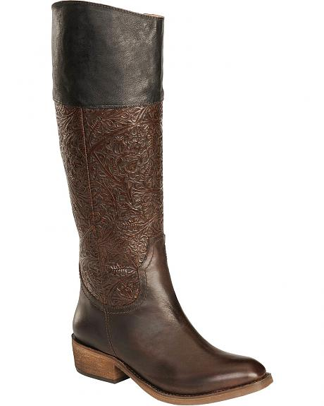 Spirit by Lucchese Peyton Western Embossed Riding Boots - Square Toe