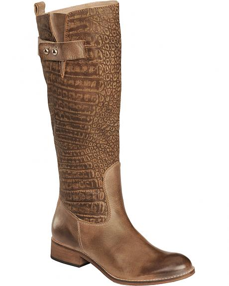 Spirit by Lucchese Bailey Carrera Embossed Croc Calf Riding Boots - Round Toe