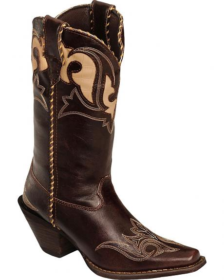 Durango Faux Leather Peek-A-Boot Inlay Cowgirl Boots - Square Toe