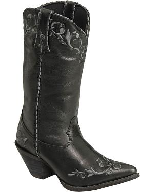 Durango Faux Leather Laced Cowgirl Boots - Pointed Toe