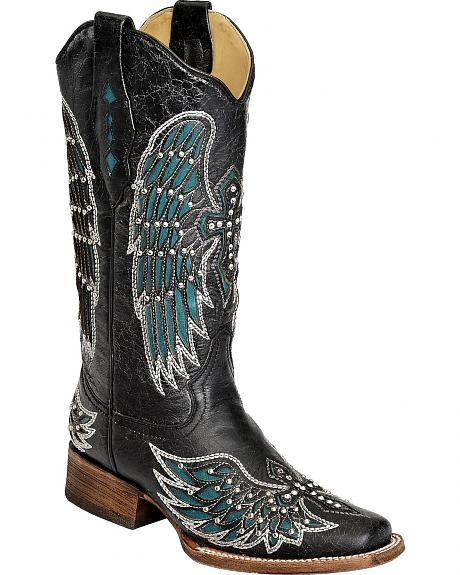 Corral Turquoise Wing Inlay & Cross Embroidered Cowgirl Boots - Square Toe