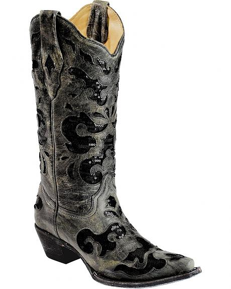 Corral Crater Sequins Inlay Cowgirl Boots - Snip Toe