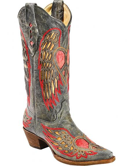 Corral Distressed Peace Heart Inlay Cowgirl Boots - Snip Toe