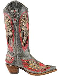 Corral Distressed Peace Heart Inlay Cowgirl Boots at Sheplers