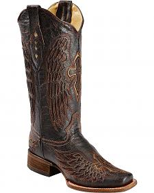 Corral Distressed Wing & Cross Inlay Cowgirl Boots - Square Toe