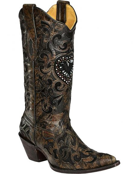 Corral Fabric Inlay & Heart Cowgirl Boots - Snip Toe