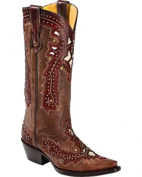 Corral Brown Studded Overlay Cowgirl Boots - Snip Toe