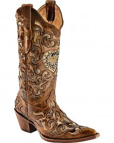 Corral Sand Maipo Crystal Heart Cowgirl Boots - Pointed Toe