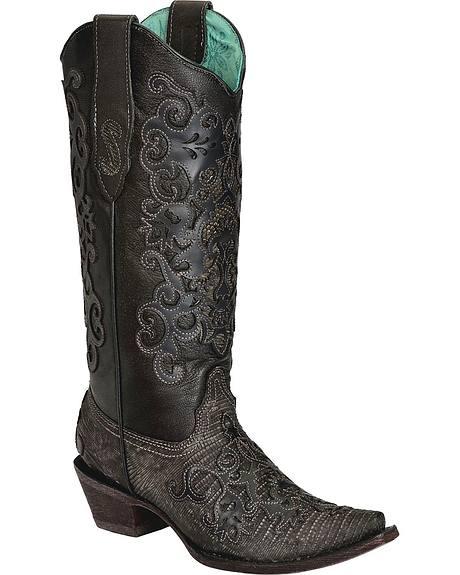 Corral Teju Lizard w/ Overlay Cowgirl Boots - Snip Toe