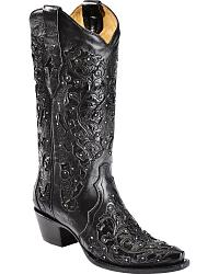 Corral Black Cobra Inlay & Rhinestone Cowgirl Boot at Sheplers