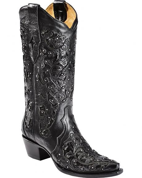 Corral Black Cobra Inlay & Rhinestone Cowgirl Boots - Snip Toe
