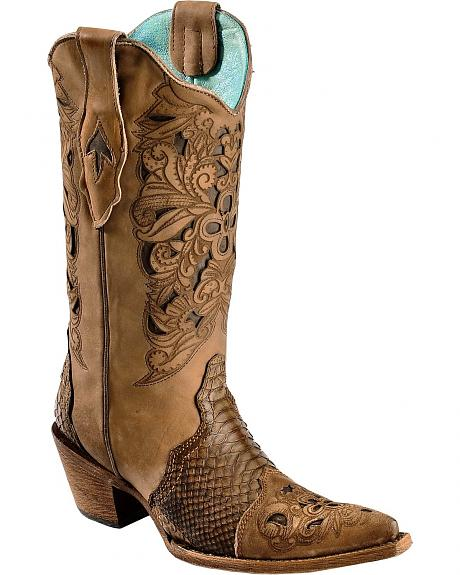 Corral Python Foot Inset Laser Tooled Cowgirl Boots - Pointed Toe