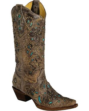 Corral Studded Turquoise Leather Inlay Cowgirl Boots - Snip Toe