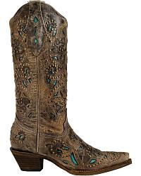 Corral Brown Crater Turquoise Inlay & Studs SnipToe at Sheplers