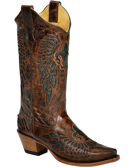 Corral Chestnut Teal Fleur-De-Lis Inlay Cowgirl Boots - Snip Toe