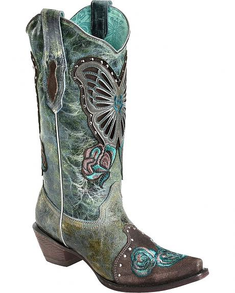 Corral Blue Jean Butterfly & Roses Cowgirl Boots - Snip Toe