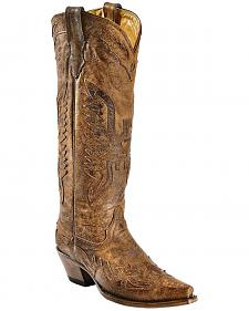 Corral Vintage Brown Eagle Overlay Tall Cowgirl Boots - Snip Toe
