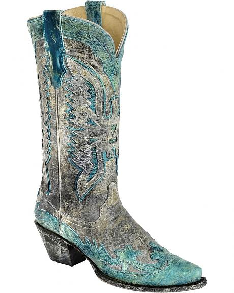 Corral Distressed Eagle Overlay Cowgirl Boots - Snip Toe