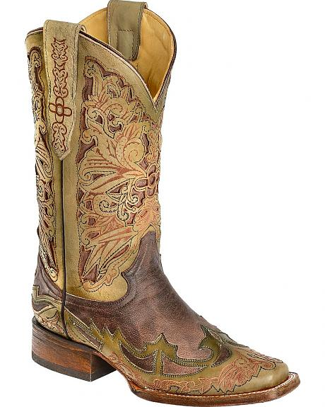 Corral Chocolate & Olive Green Laser Inlay Cowgirl Boots - Square Toe