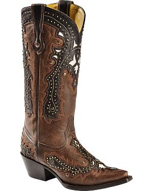 Corral Tobacco Studded Overlay Cowgirl Boots - Snip Toe