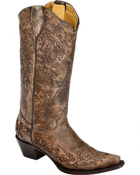 Corral Sanded Chocolate Floral Embroidered Cowgirl Boots - Snip Toe